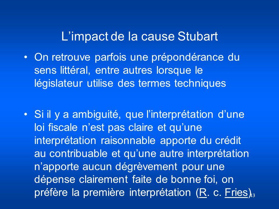 L'impact de la cause Stubart