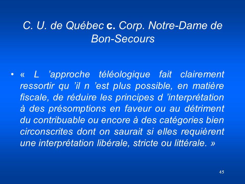 C. U. de Québec c. Corp. Notre-Dame de Bon-Secours