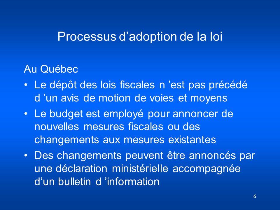 Processus d'adoption de la loi
