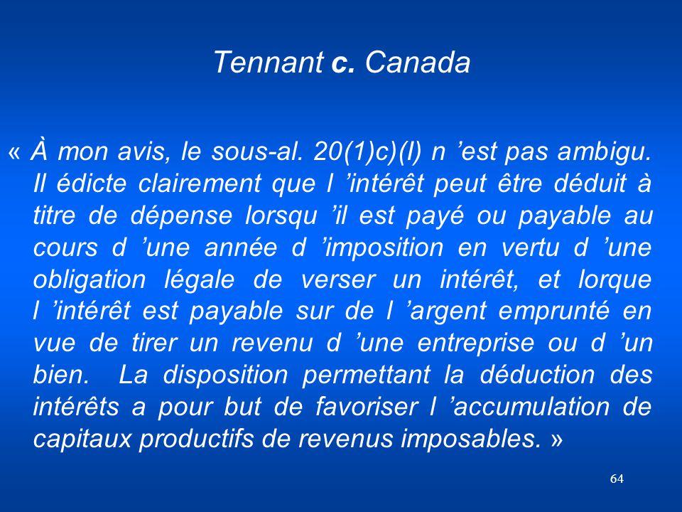 Tennant c. Canada