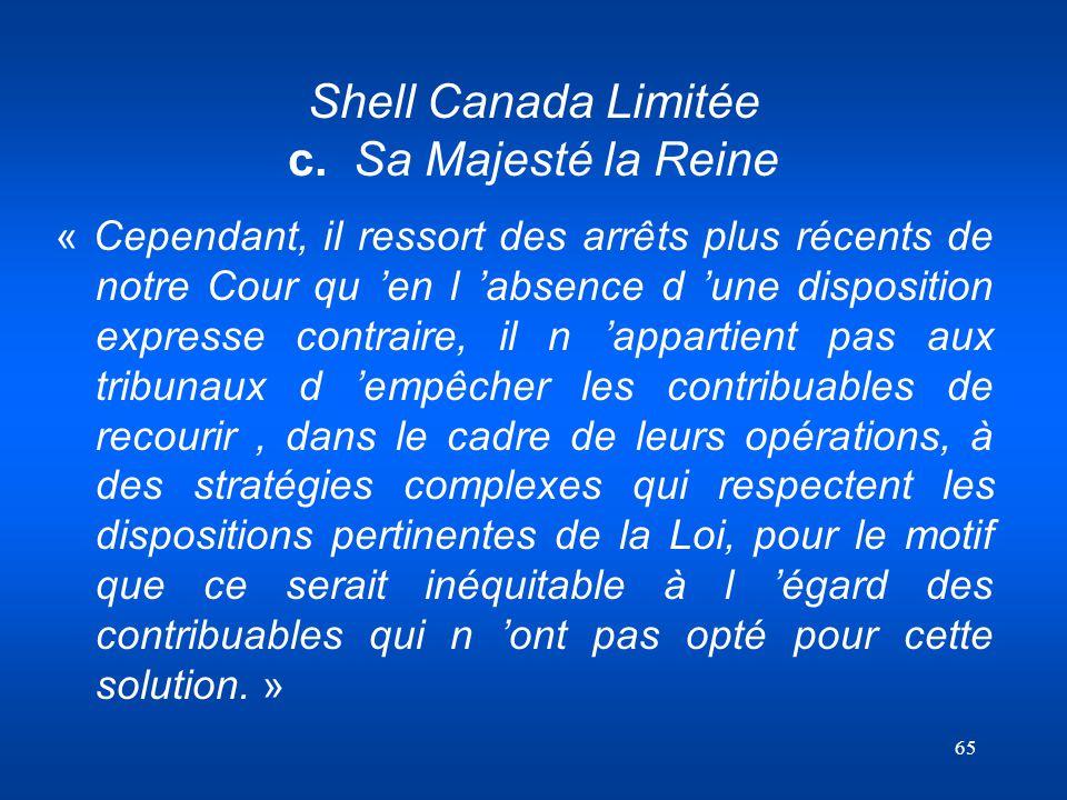 Shell Canada Limitée c. Sa Majesté la Reine