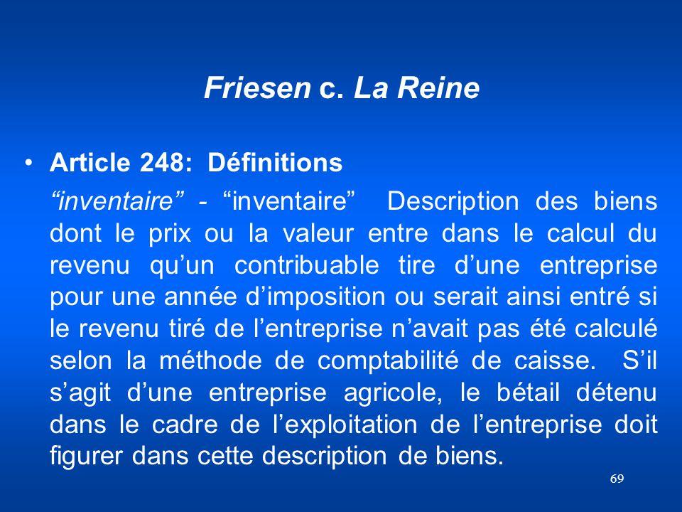 Friesen c. La Reine Article 248: Définitions