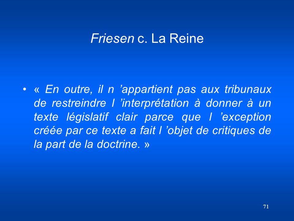 Friesen c. La Reine