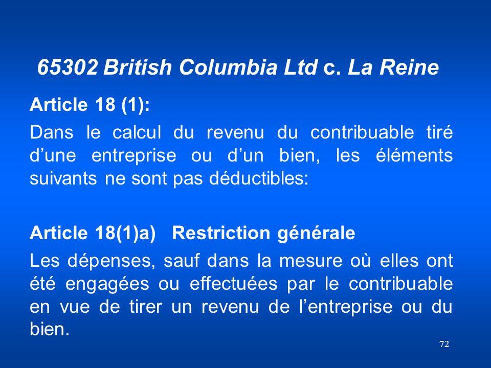 65302 British Columbia Ltd c. La Reine