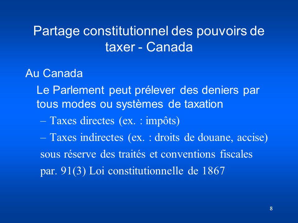 Partage constitutionnel des pouvoirs de taxer - Canada