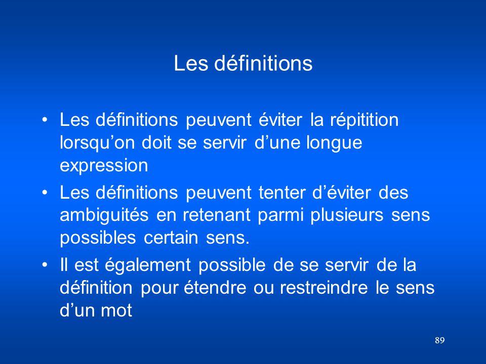 Les définitions Les définitions peuvent éviter la répitition lorsqu'on doit se servir d'une longue expression.