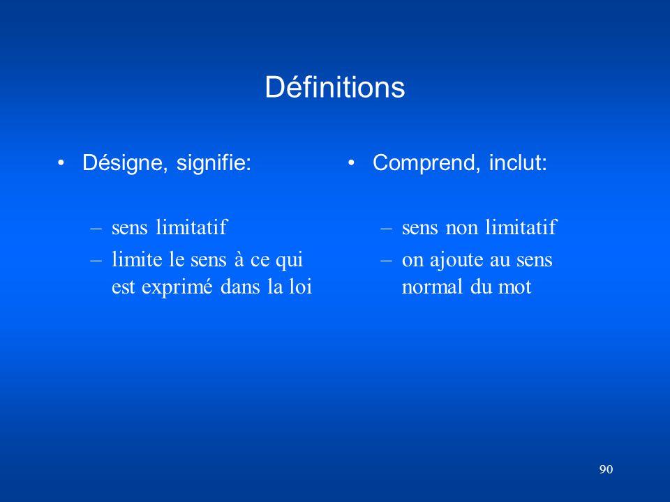 Définitions Désigne, signifie: sens limitatif