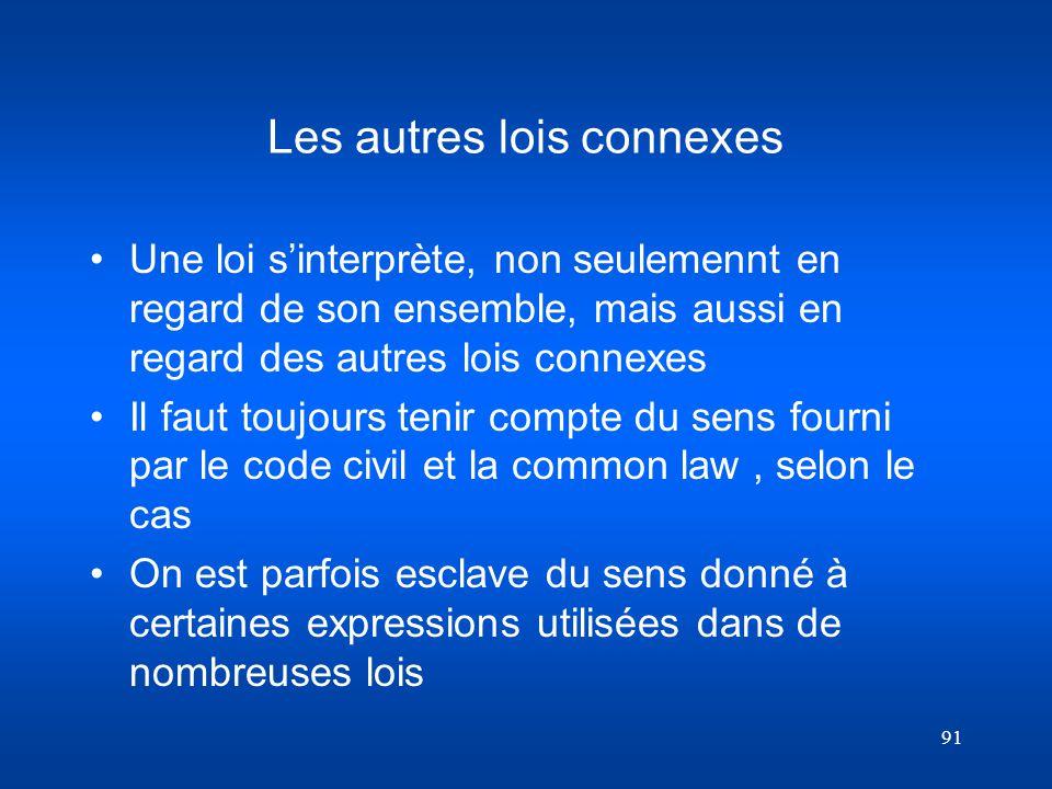 Les autres lois connexes