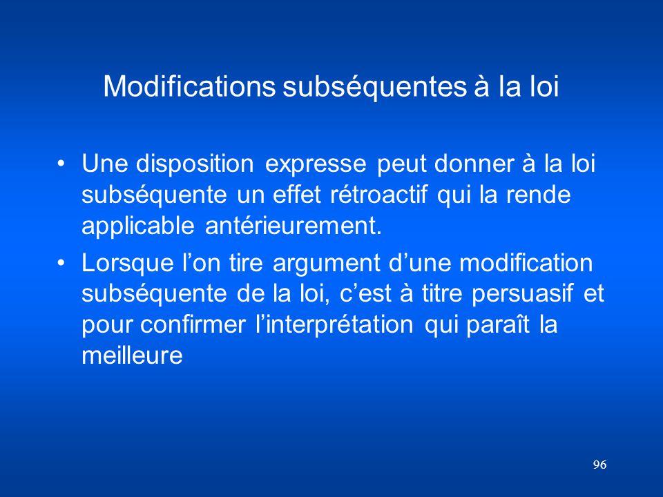 Modifications subséquentes à la loi
