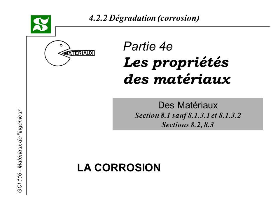 Les propriétés des matériaux Partie 4e LA CORROSION Des Matériaux