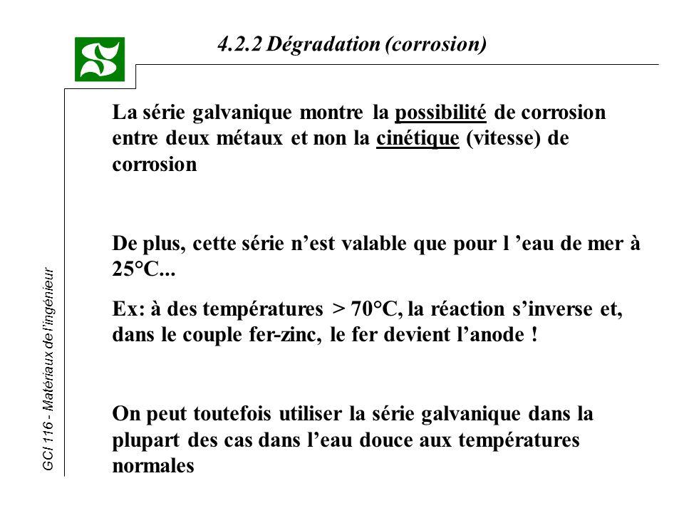 La série galvanique montre la possibilité de corrosion entre deux métaux et non la cinétique (vitesse) de corrosion