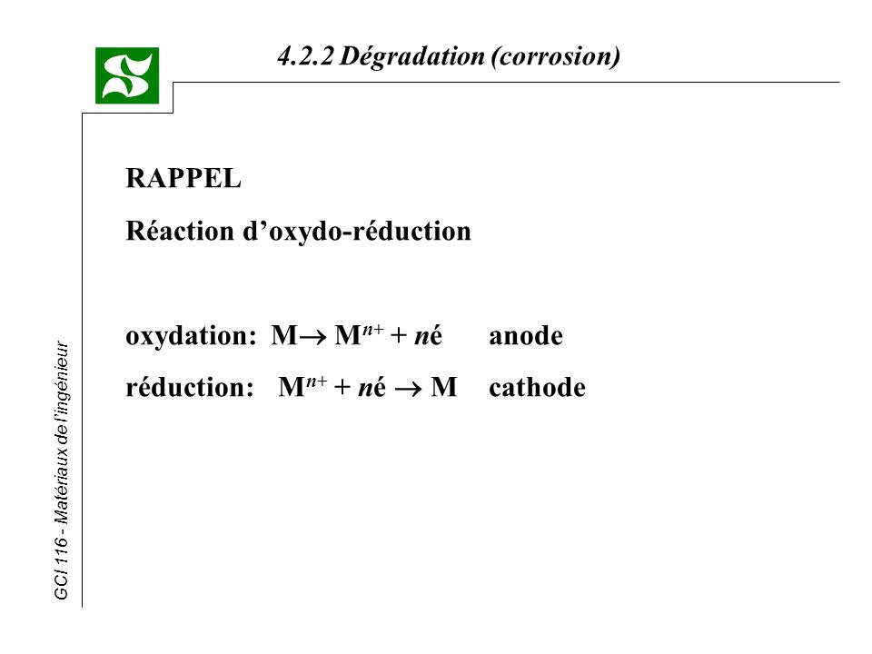 RAPPEL Réaction d'oxydo-réduction oxydation: M Mn+ + né anode réduction: Mn+ + né  M cathode