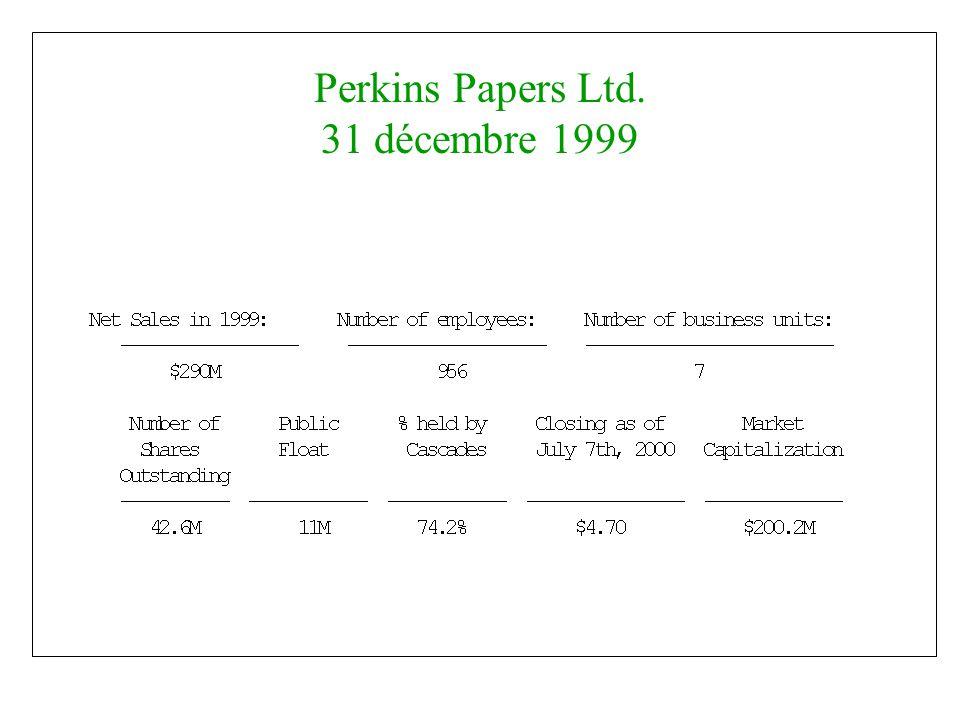Perkins Papers Ltd. 31 décembre 1999