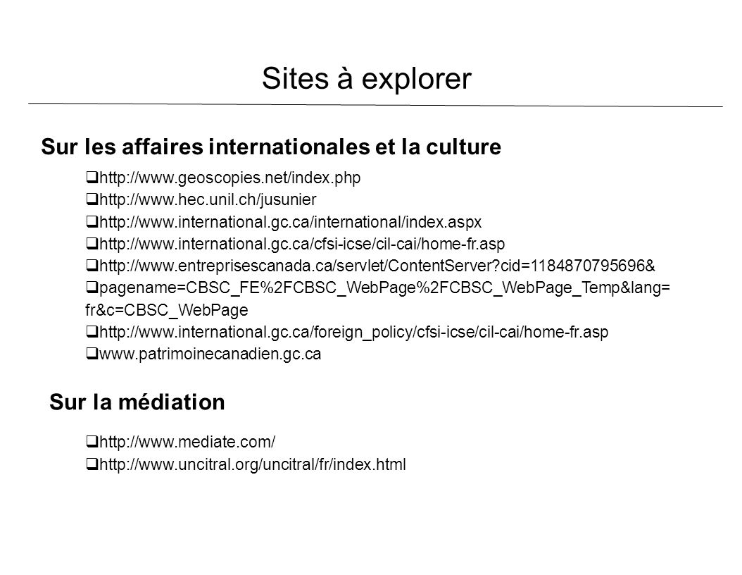 Sites à explorer Sur les affaires internationales et la culture