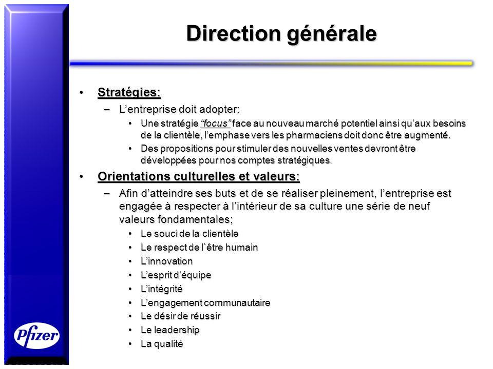 Direction générale Stratégies: Orientations culturelles et valeurs: