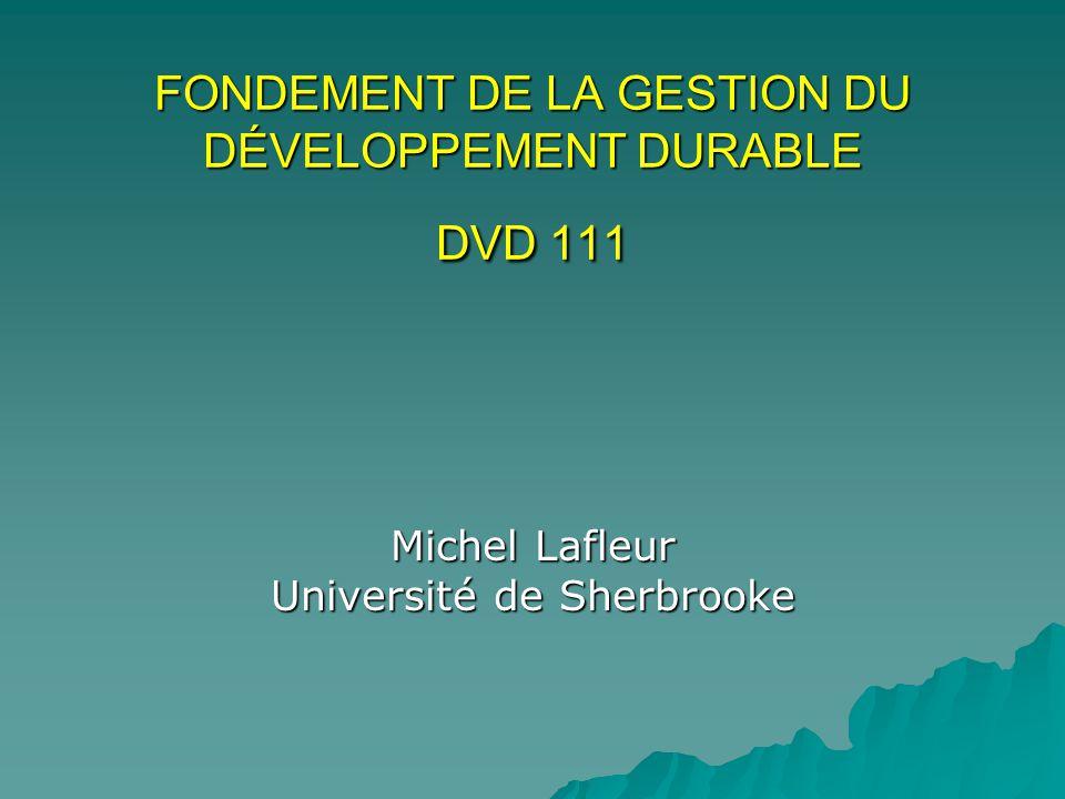 FONDEMENT DE LA GESTION DU DÉVELOPPEMENT DURABLE DVD 111