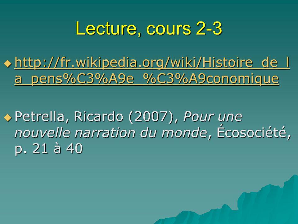 Lecture, cours 2-3 http://fr.wikipedia.org/wiki/Histoire_de_la_pens%C3%A9e_%C3%A9conomique.
