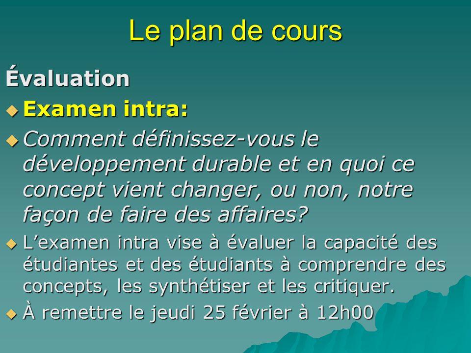 Le plan de cours Évaluation Examen intra: