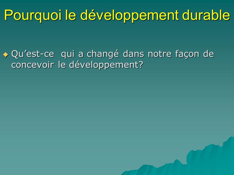 Pourquoi le développement durable