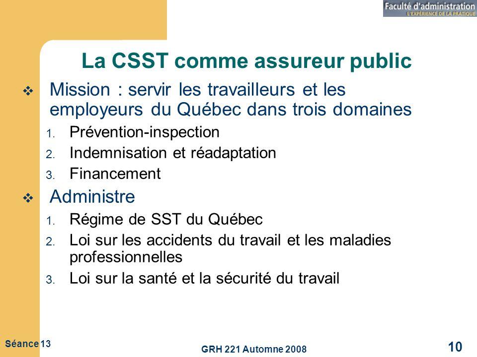 La CSST comme assureur public