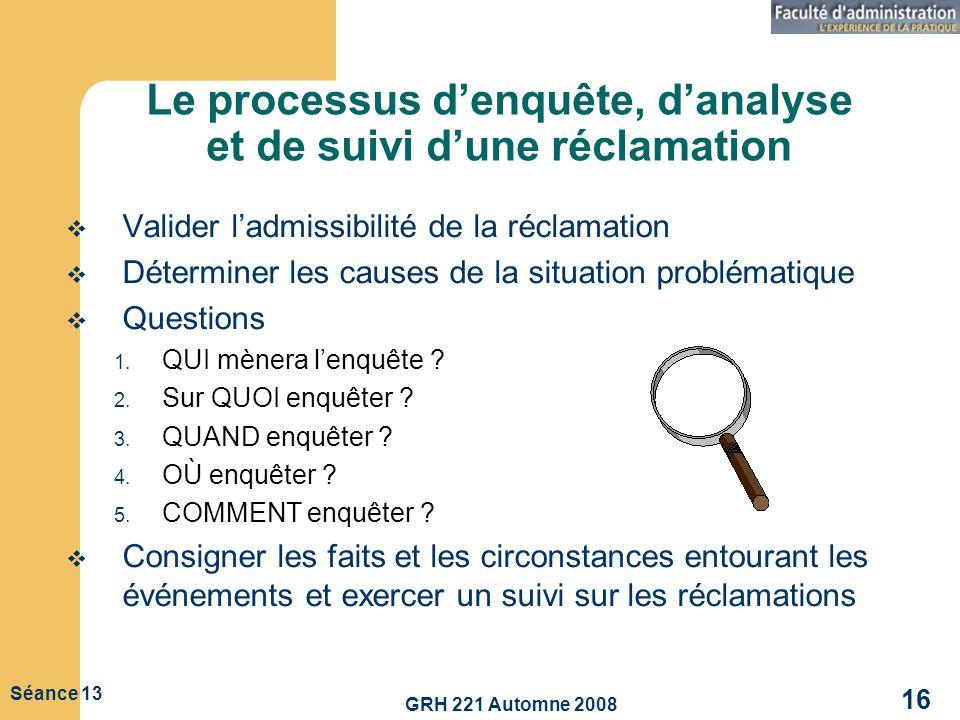 Le processus d'enquête, d'analyse et de suivi d'une réclamation