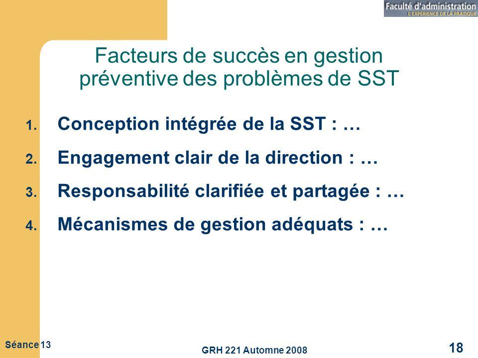 Facteurs de succès en gestion préventive des problèmes de SST