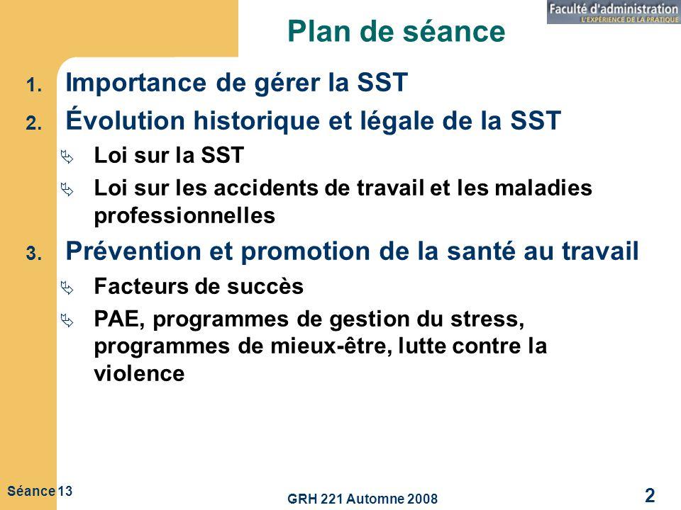 Plan de séance Importance de gérer la SST