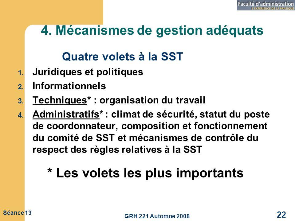 4. Mécanismes de gestion adéquats