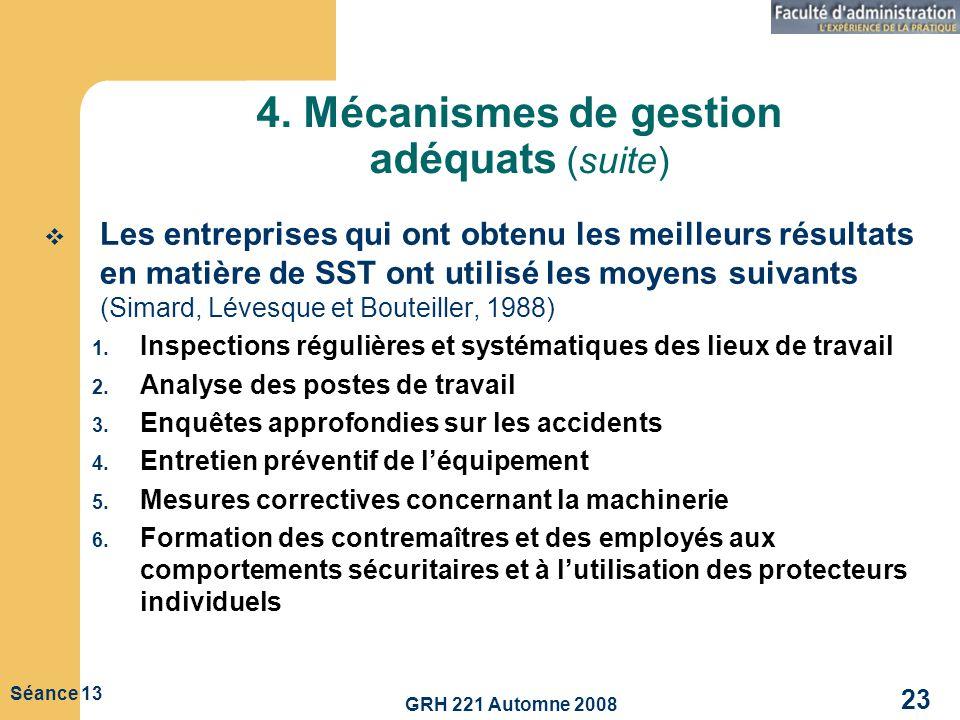 4. Mécanismes de gestion adéquats (suite)