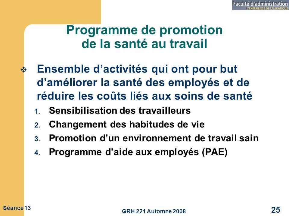 Programme de promotion de la santé au travail