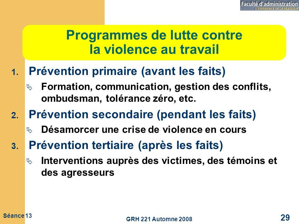 Programmes de lutte contre la violence au travail