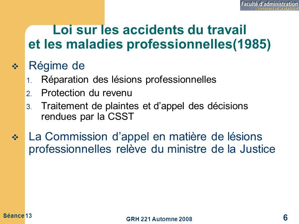 Loi sur les accidents du travail et les maladies professionnelles(1985)