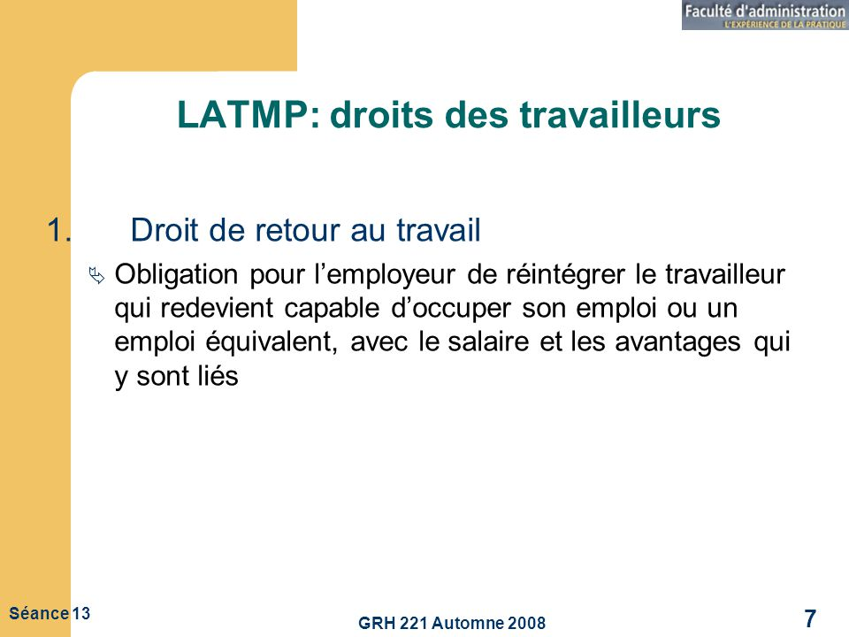 LATMP: droits des travailleurs