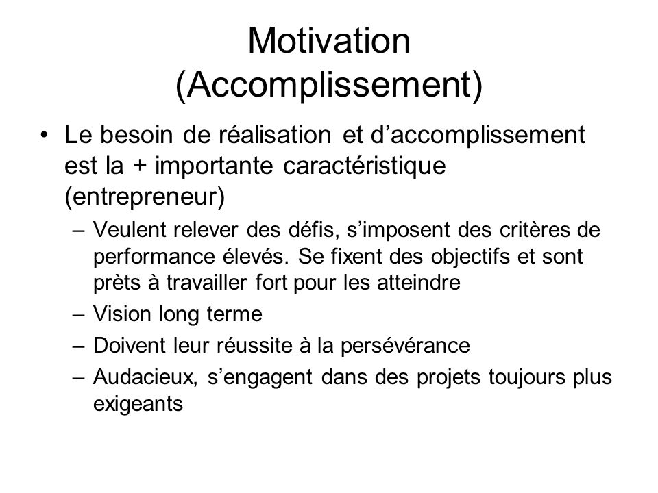 Motivation (Accomplissement)