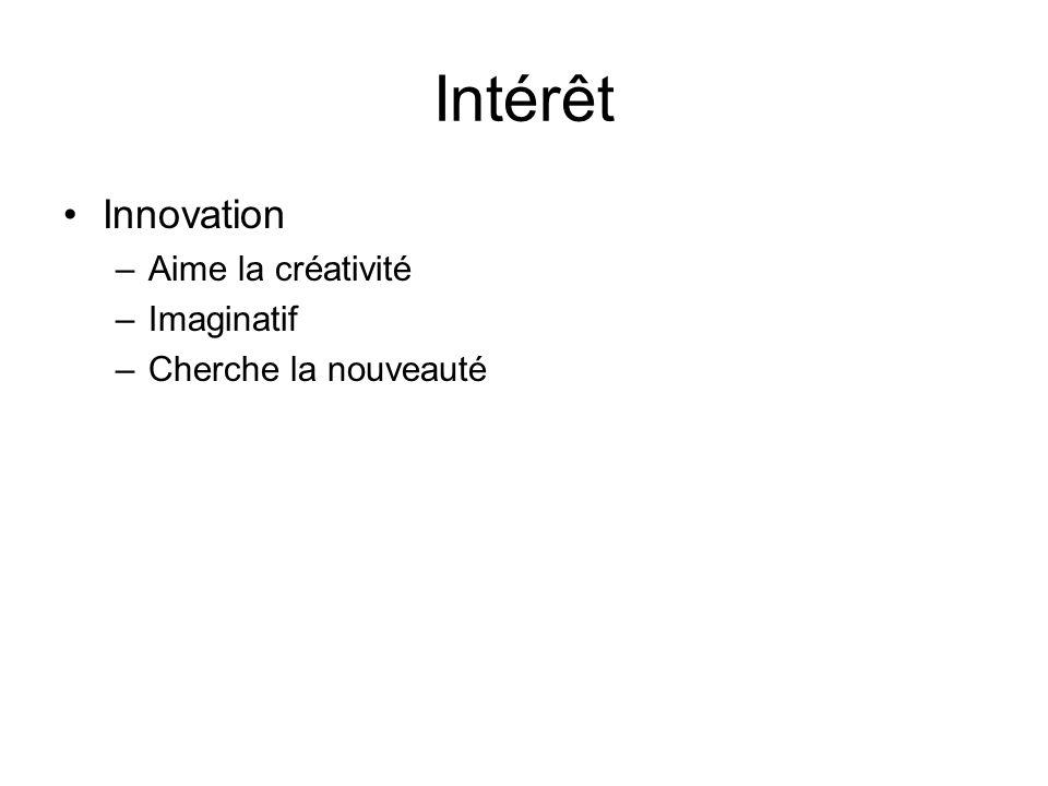 Intérêt Innovation Aime la créativité Imaginatif Cherche la nouveauté