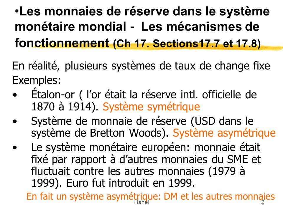 Les monnaies de réserve dans le système monétaire mondial - Les mécanismes de fonctionnement (Ch 17. Sections17.7 et 17.8)