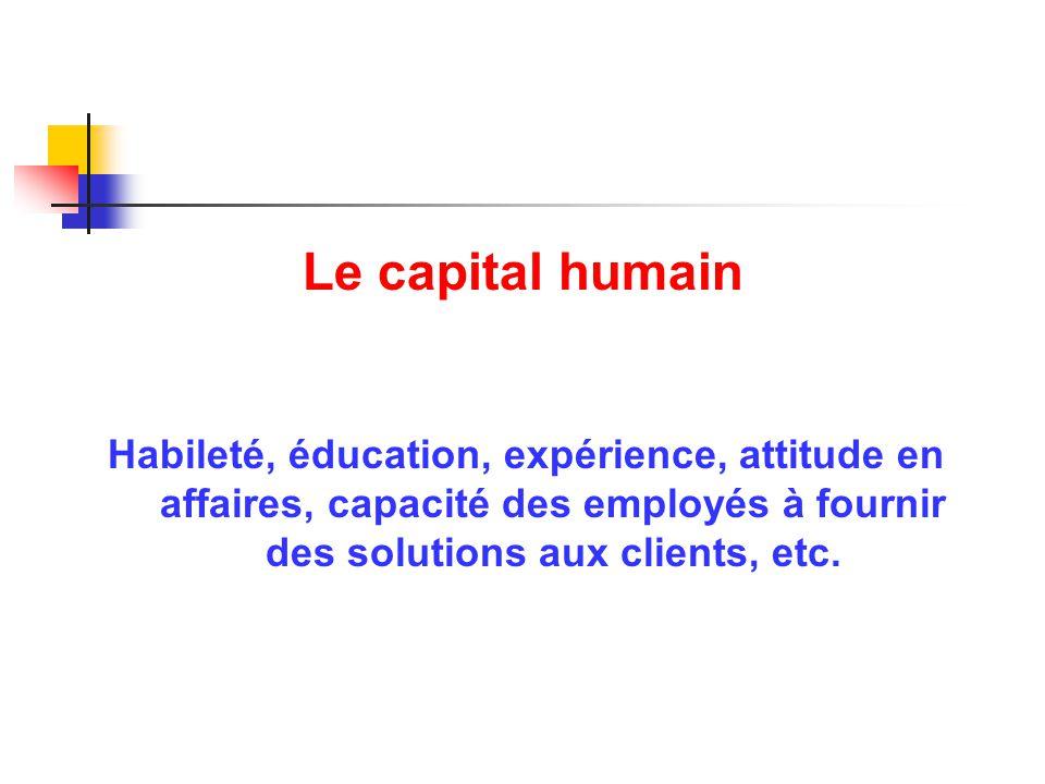 Le capital humain Habileté, éducation, expérience, attitude en affaires, capacité des employés à fournir des solutions aux clients, etc.