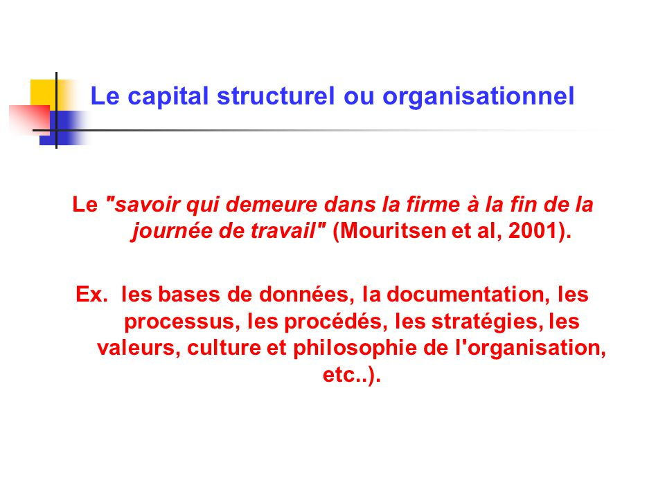 Le capital structurel ou organisationnel