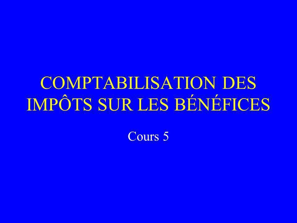 COMPTABILISATION DES IMPÔTS SUR LES BÉNÉFICES