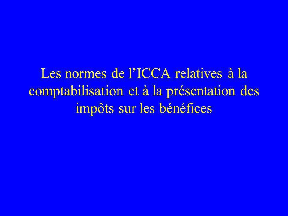 Les normes de l'ICCA relatives à la comptabilisation et à la présentation des impôts sur les bénéfices