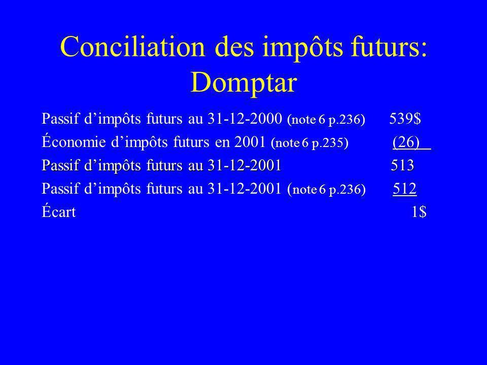 Conciliation des impôts futurs: Domptar