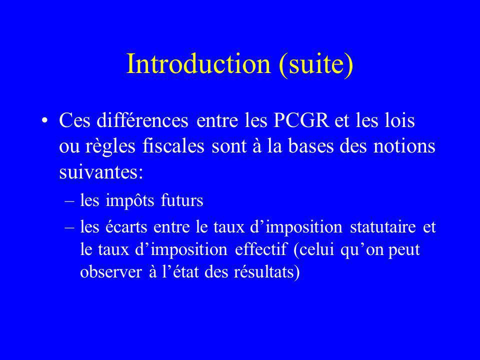 Introduction (suite) Ces différences entre les PCGR et les lois ou règles fiscales sont à la bases des notions suivantes: