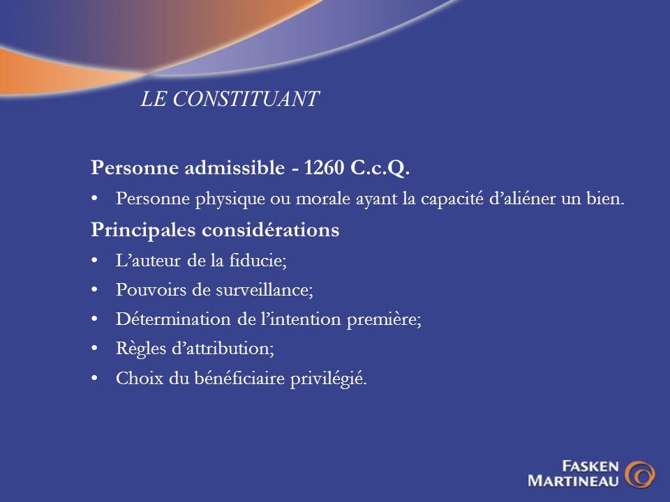 Personne admissible - 1260 C.c.Q. Principales considérations