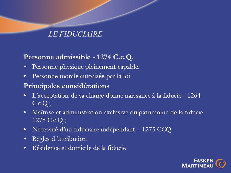 Personne admissible - 1274 C.c.Q.