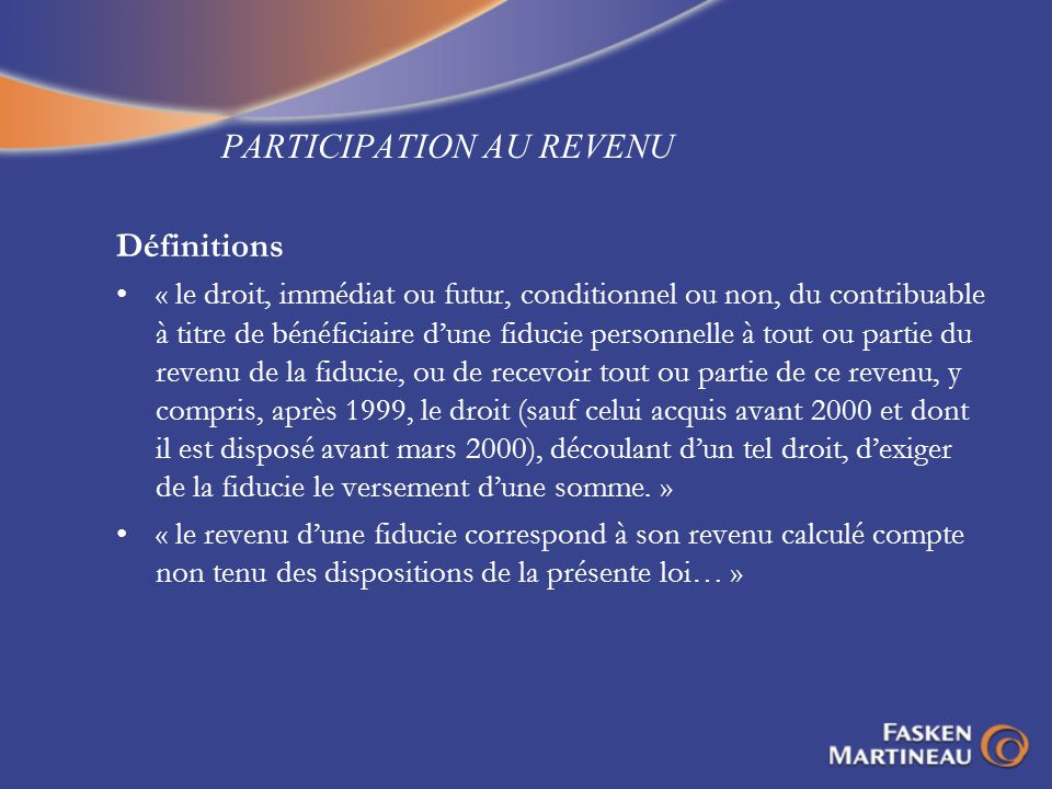 PARTICIPATION AU REVENU