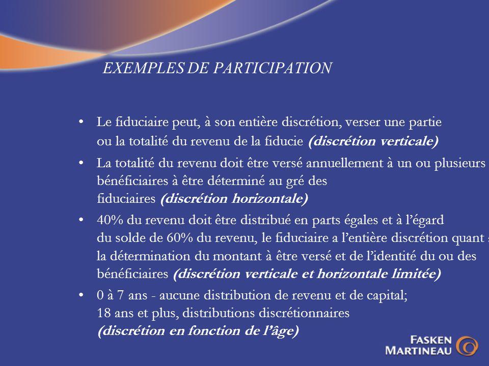 EXEMPLES DE PARTICIPATION