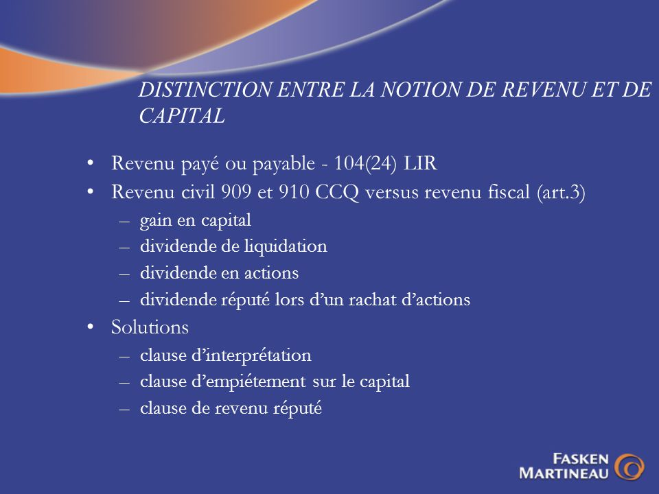 DISTINCTION ENTRE LA NOTION DE REVENU ET DE CAPITAL