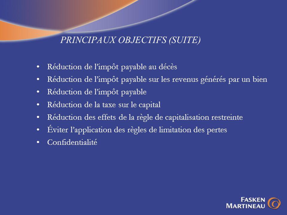 PRINCIPAUX OBJECTIFS (SUITE)