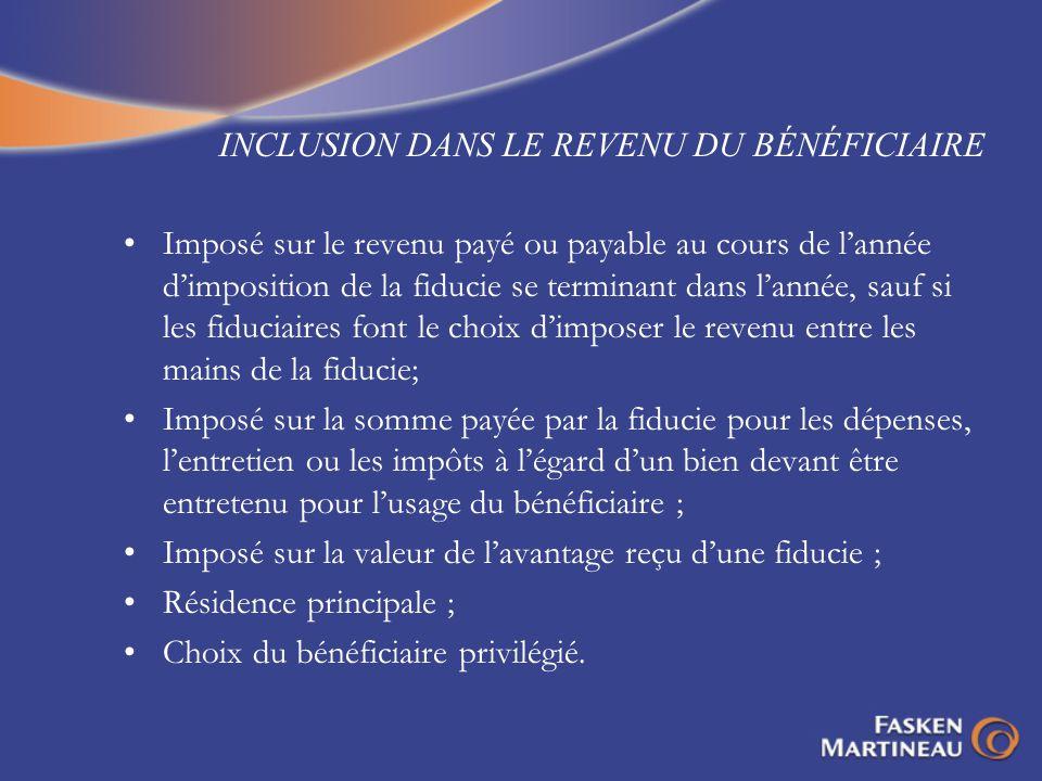 INCLUSION DANS LE REVENU DU BÉNÉFICIAIRE