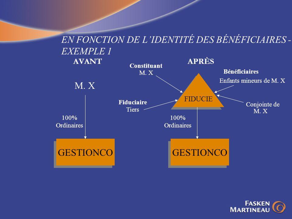 EN FONCTION DE L'IDENTITÉ DES BÉNÉFICIAIRES - EXEMPLE 1